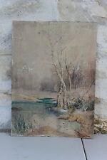 Ancienne aquarelle Arbres bouleau Forêt étang - Signée C. Rouillard De Kerivily