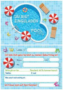 12 einladungskarten einladungen kindergeburtstag schwimmbad party pool party ebay. Black Bedroom Furniture Sets. Home Design Ideas