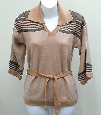 Ladies vintage tunic top UNUSED 1970s striped jumper Collar Belt BEIGE BROWN 36