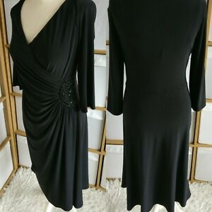 Laura-Ashley-Wrap-Robe-Noir-Taille-16-Extensible-Fronce-Moulante-Midi-Manches-3-4