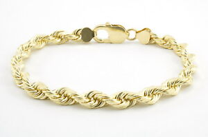Real-10k-Yellow-Gold-Genuine-6mm-Italian-Diamond-Cut-Rope-Chain-Link-Bracelet-8-034