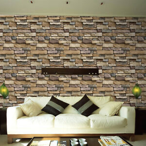 Details About Wall Paper 3D Brick Stone Rustic Effect Self Adhesive Sticker Home Decor AU