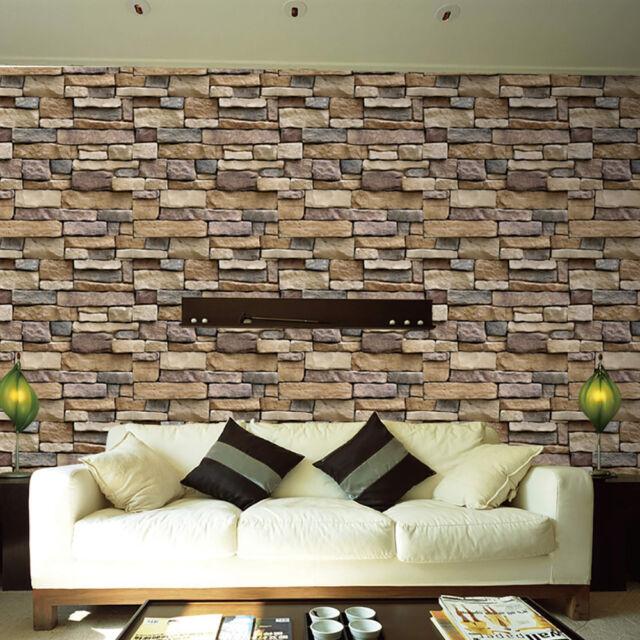 wall paper 3d brick stone rustic effect self-adhesive wall sticker