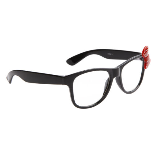 KITTY Style Womens Girls Retro Nerd Clear Lens Glasses Whiskers Bow