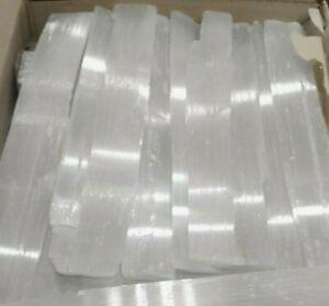 """LOT lbs XL Selenite Logs """" Wand Rough Crystal Sticks Heal 5 POUND BULK WHOLESALE"""