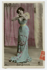 c 1910 Lovely SHAPELY FIGURE FASHION glamour Pretty Lady French photo postcard