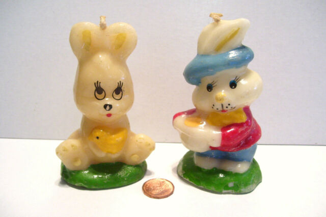Pair Easter Bunny Rabbit Candles Unused 4 Inches Tall Rabbit Mid Century Vintage