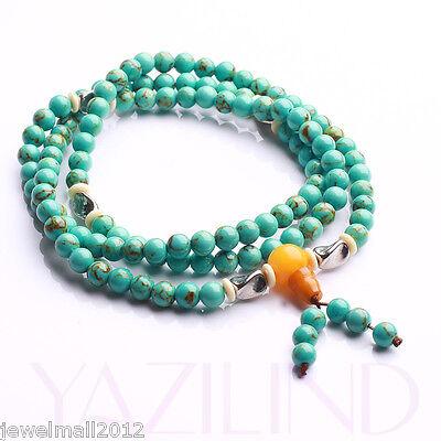 Fashion Turquoise Beads Blue Rosary Mala Prayer Bracelet Meditation Necklace