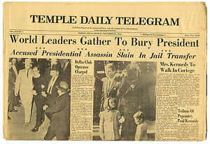 JFK John F. Kennedy ination Newspaper   eBay Temple Daily Telegram Garage Sales on temple animal shelter, temple dog shelter, temple tx newspaper, temple lake park address, temple wildcats football,