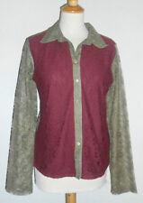 LISA CAMPIONE Damen Bluse Gr. 40 weinrot olive Spitze NEU mit Etikett