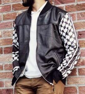 Palestinian-Hatta-Kuffiyeh-Leather-Jacket