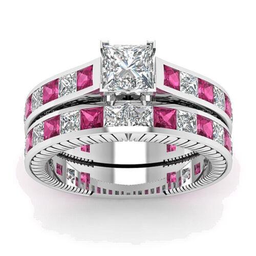 4.0ct Princess Cut CZ /& Pink CZ Vintage Engagement Wedding Rings Set