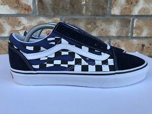 Men s Vans Old Skool Checker Flame Checkerboard Racing Navy Blue ... 59c01e527
