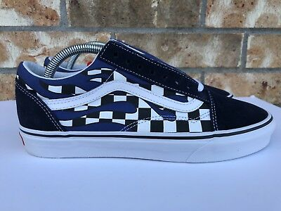 Men's Vans Old Skool Checker Flame Checkerboard Racing Navy Blue White Size 8 191166912204 | eBay