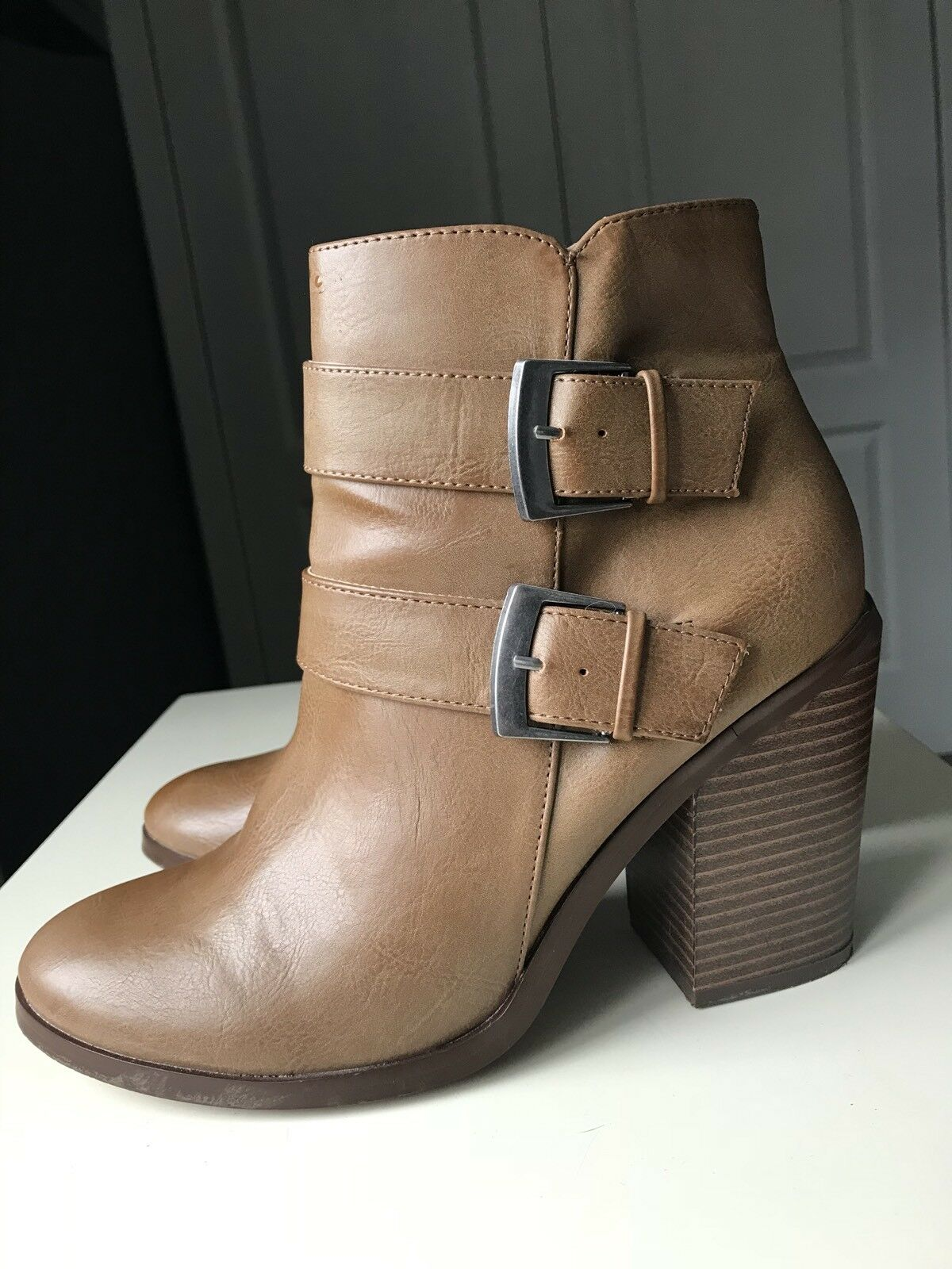 Dgoldthy Perkins Designer Brown Women Ankle High Heel shoes Boot Size 7 40