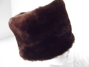 fa88fe63c Details about vtg 40s 50s faux fur hat pill box cossack bucket brn S M 22in  hand sewn lining