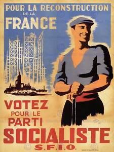 PROPAGANDA POLITICAL POST WWII CONSTRUCT FRANCE BUILD SOCIALISM POSTER BB2599A