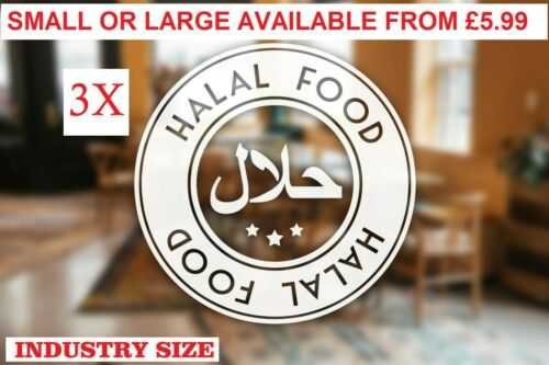 3 Halal food Sign Sticker Window Vinyl Decal Cafe Coffee Shop Restaurant Butcher