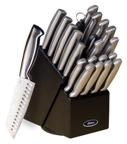 Oster 70562.22 Baldwyn 22-Piece Cutlery Block Set, Brus