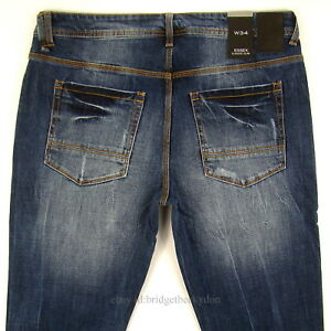 Sean-John-Mens-New-Slim-Fit-Size-34-x-32-Dark-Blue-DISTRESSED-WITH-STRETCH-NWT