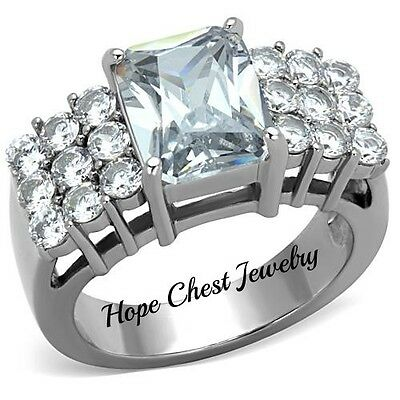 WOMEN'S SILVER STAINLESS STEEL 3 CARAT RADIANT CUT CZ ENGAGEMENT RING SIZE 8