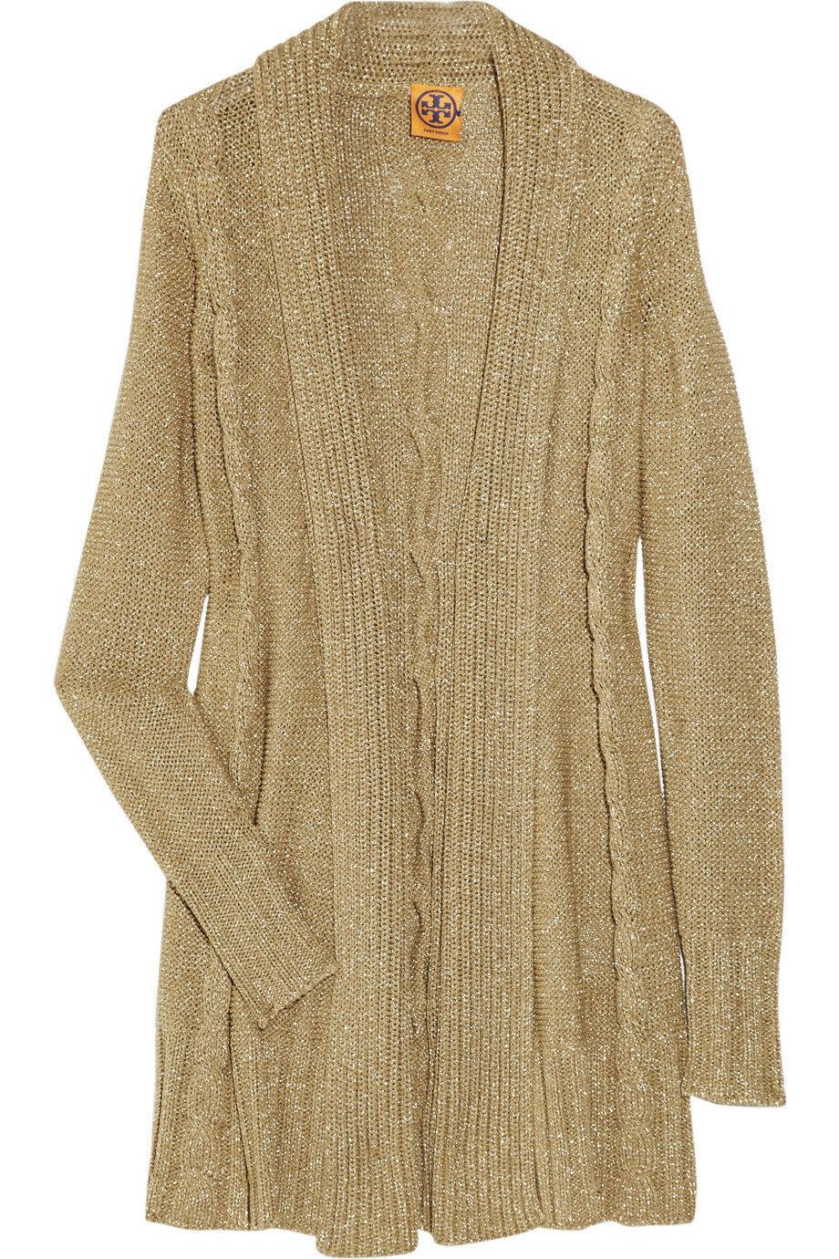 345 Tory Burch Anouk gold lurex metallic knitted open cardigan S