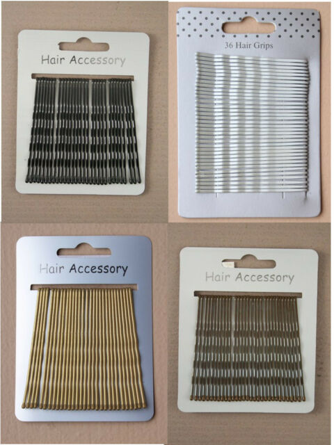 30pc Large 6.5cm Blond Brown Black Silver KIRBY Hair Grips & Slides Bobby Pins