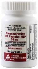 Diphenhydramine 50 mg Allergy Medicine Generic Benadryl 100 Capsules Bottle