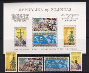 Philippines 1965 400th years Christianization by Spain 4 values + S/S mint NH