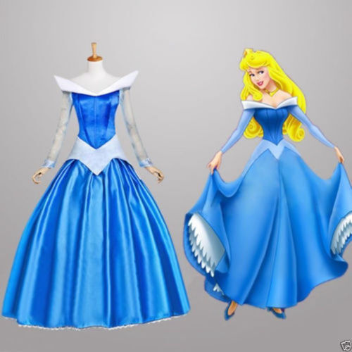 LUY35 Hot Sleeping Beauty Princess Aurora Costume Party Dress Pink adult