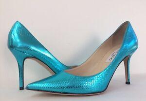 fe3fbdf6a68 New Jimmy Choo Agnes Metallic Blue Watersnake Pointy Toe Pumps Heels ...