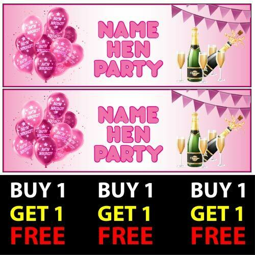 Personalised Pink Hen Party Banners 100gsm Kids Boys Girl Party Celebration