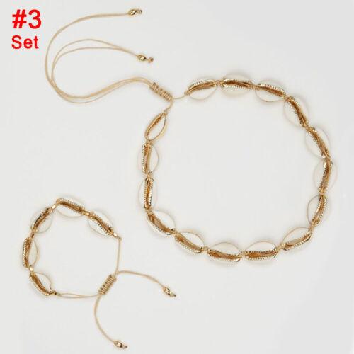 la plage tressés main couleur or shell collier bijoux ensemble line bracelet