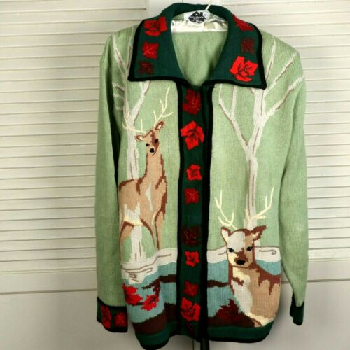 Storybook Knits HSN Size Large Cardigan Deer & Lea