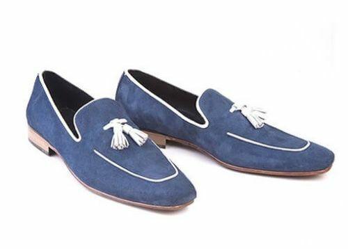 Zapatos Para Hombre Hecho a Mano Azul Marino Gamuza Borlas Mocasines Mocasín resbalón en el inicio formal