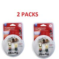 2 Packs Ge Ultra Audio Speaker Bare Wire Connector Spade Plugs 2 Reds & 2 Blacks