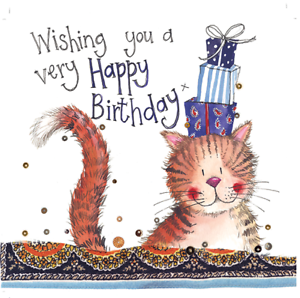 Image Is Loading CAT Amp PRESENTS BIRTHDAY CARD CATS ENVELOPE SPARKLE