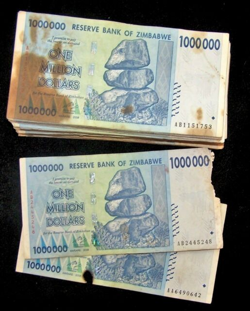 100 x Zimbabwe 1 million dollar banknotes-2008/DAMAGED/POOR CONDITION CURRENCY