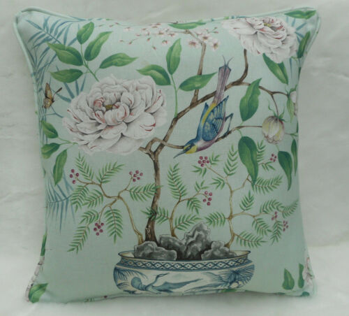 """Zoffany tissu /""""romey/'s garden/"""" housse de coussin mer vert décoration 100/% lin"""