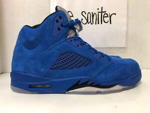 cheap for discount 309ca ea6a8 Details about Nike Air Jordan 5 Retro Blue Suede Black 136027 401 Men's  Size 11
