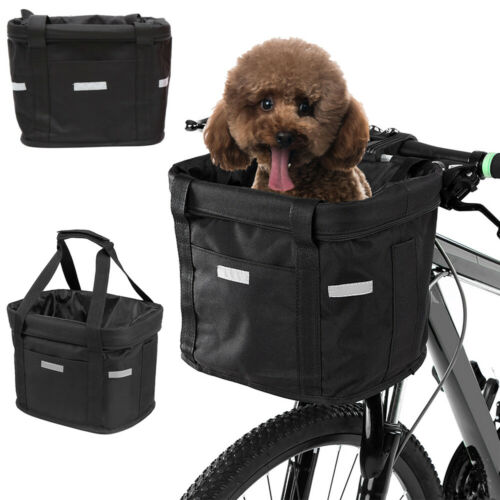 Bicycle Front Basket Storage Bike Cycle Folded Pet Cat Dog Carrier Bag Removable