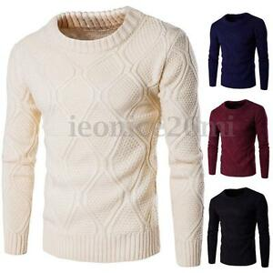 2016-New-Stylish-Mens-Winter-Warm-Slim-Fit-Plain-Knitted-Sweater-Jumper-Pullover