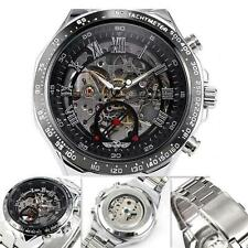 New Men's Mechanical Sport Army AVIATOR Wrist Watch Luxury Black Stainless Steel