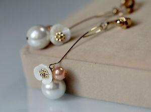 Boucles d Oreilles Clips Doré Long Fleur Nacre Perle Blanc Rose Fin ... 03415de36bf