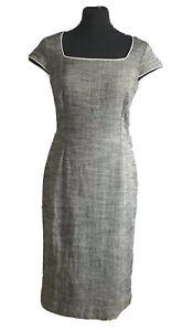 Hobbs-grau-Teil-Leinen-Teil-Baumwolle-Buero-ausgestattet-Midi-Kleid-Groesse-12