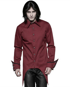 Punk-Rave-Gotico-Vampiro-Camisa-Top-Hombre-Rojo-Steampunk-De-Coleccion-Victoriano-Boda