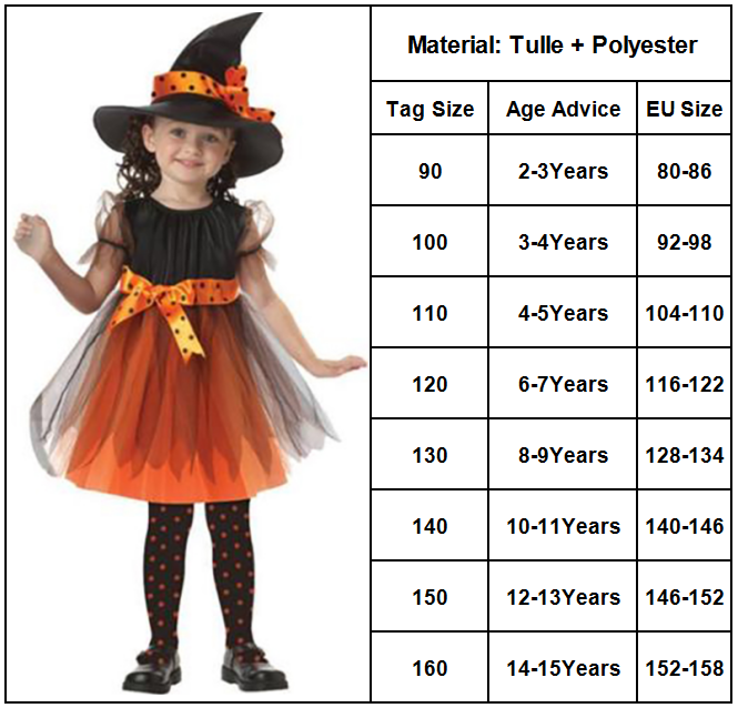 SIZE Child 10-12 Halloween Black Witch Fairy Dress Fantasy Costume
