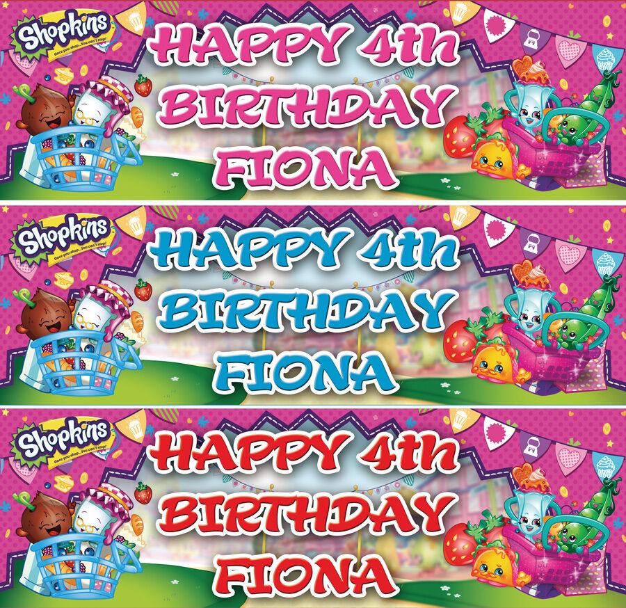 2 x personalised shopkins birthday banner children nursery kids party decoration