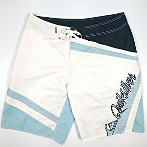 Quicksilver-Men-039-s-Board-Shorts-Size-34-White-Blue-Turquoise-Boardshorts