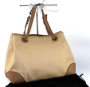 Image is loading Authentic-Bottega-Veneta-Cotton-Canvas-Brown-Leather-Tote- 66428b727d034